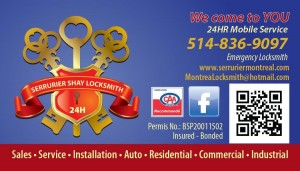 SHAY MONTREAL LOCKSMITH BUSINESS CARD NEW ENGLISH